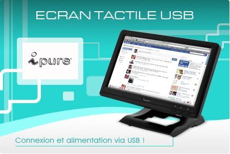 """iPure, LCD 10"""", 10 pouces, auto-alimenté USB, Tactile"""