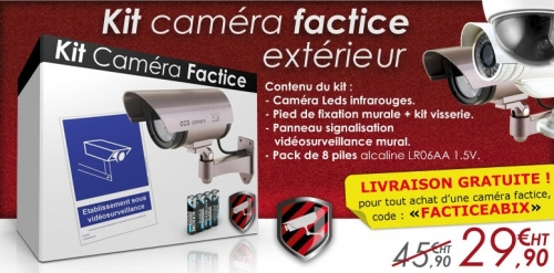 camera factice, caméra factice, cameras factices, caméras factices, camera surveillance factice